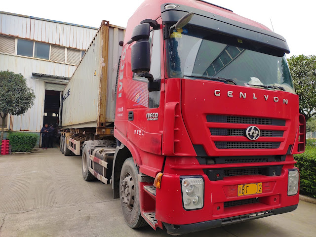 The front of the truck which will deliver our machines to the port