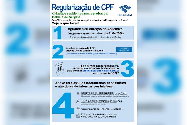 NOTA: regularização do CPF para recebimento de auxílio emergencial de R$ 600,00