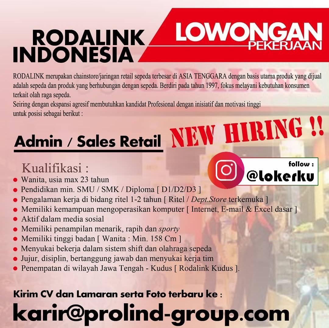 Loker Kudus Kerja Dibutuhkan Admin/ Sales Retail di Rodalink Kudus