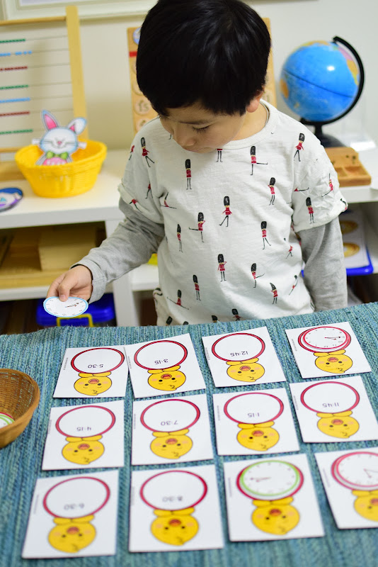 Easter Theme Unit: Reading Time Matching Activity