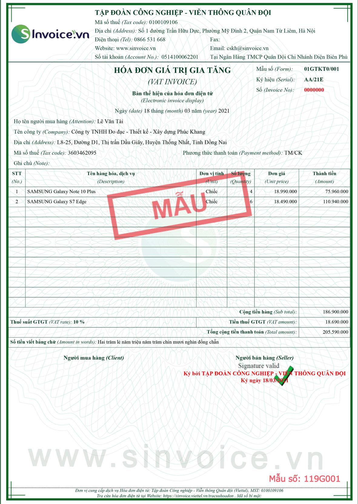 Mẫu hóa đơn điện tử số 119G001