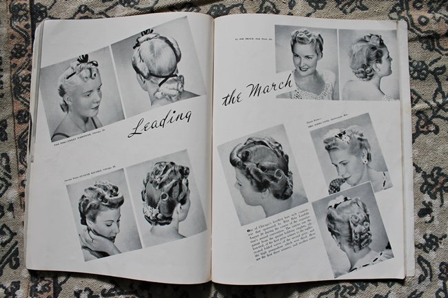 1940s pin curl evening updo tutorial from vintage hair styling magazine
