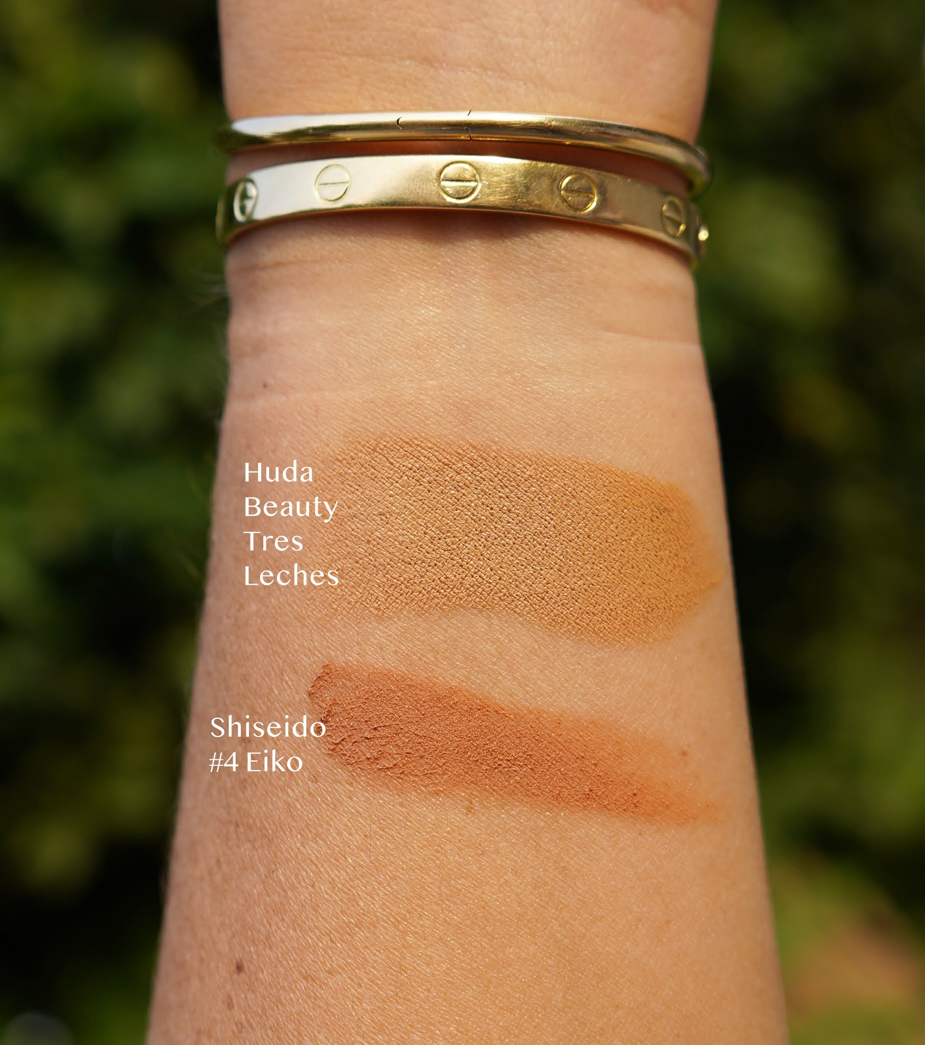 Huda beauty and Shisheido makeup swatch  from end of october