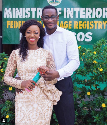 Photo from fashion designer Kunbi Oyelesi's court wedding