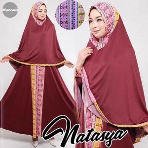 Gamis-Syar'i-Murah-Natasya-maroon-cantik-terbaru-modis