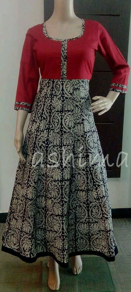 Sparkling Fashion Kalamkari Ikat Cotton Kurti Designs
