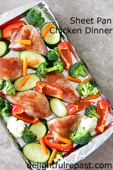 Sheet Pan Chicken Dinner with Romesco Sauce (this photo - before baking) / www.delightfulrepast.com