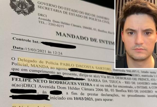 Deu ruim: Felipe Neto vai ter que depor à Polícia por chamar Bolsonaro de genocida