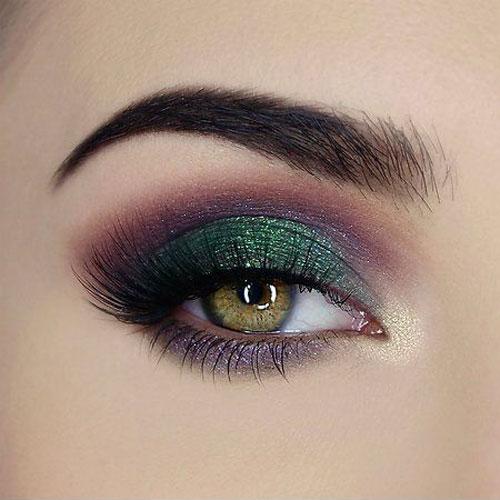 Maquillaje de noche para ojos verdes