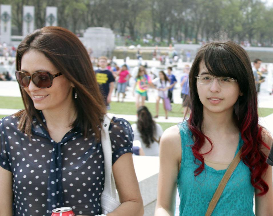 Cristina Garay and daughter during cherry blossom festival Dc