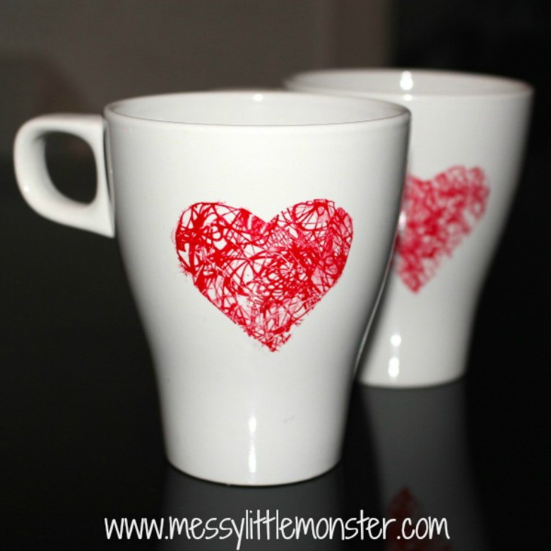 Preschool valentine crafts - heart mug