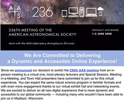 Summer AAS 236th Meeting, scheduled for Madison, WI, now to be held online (Source: www.aas.org)