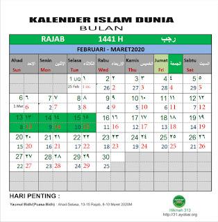 Kalender Islam Dunia  bersatu Bulan Rajab 1441 H