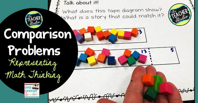 comparison problems, word problems, tape diagrams, strip diagrams, problem solving, teaching comparison problems, grade 3 math, grade 4 math, grade 5 math, comparison word problems
