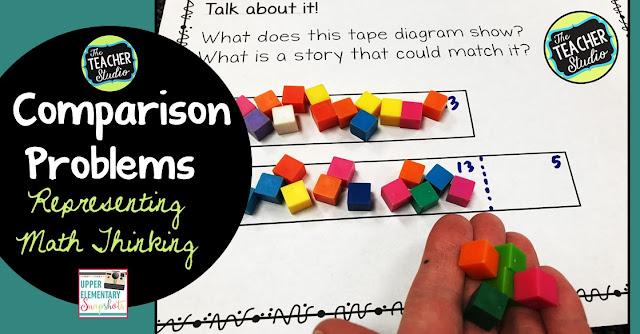 comparison problems, word problems, tape diagrams, strip diagrams, problem solving, teaching comparison problems, grade 3 math, grade 4 math, grade 5 math, comparison word problems