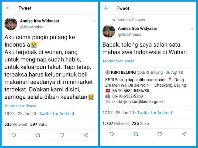 Breakingnews, Mahasiswa Indonesia Terjebak di Wuhan, Minta Tolong Ingin Bisa Pulang