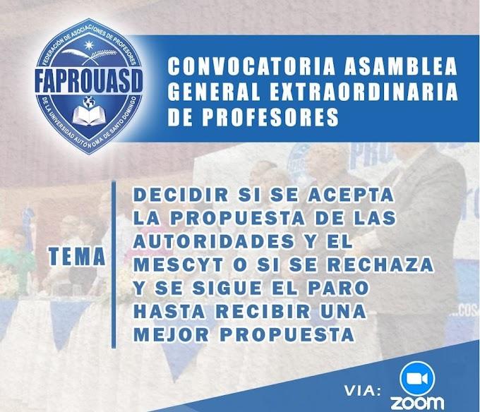 EN VIVO: Asamblea General Extraordinaria de Profesores FAPROUASD 24/2/2021
