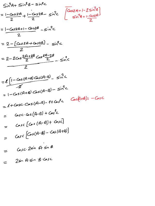 Class ten, Conditional trigonometric identities