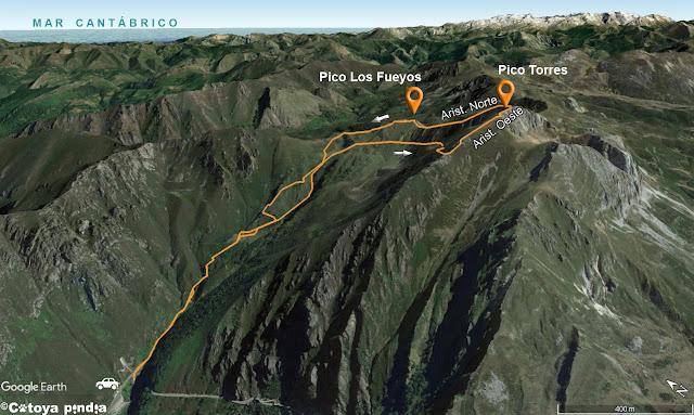 Mapa 3D con la ruta señalizada al Pico Torres por su espolón oeste desde el Puente Cimero Los Fueyos.