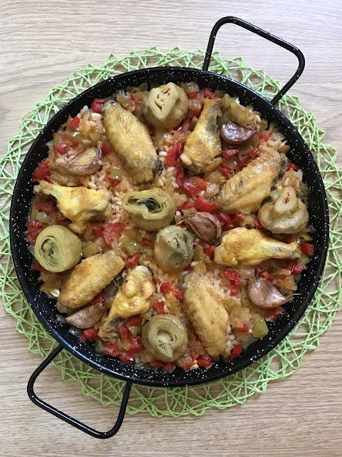 arroz alcachofas y pollo al horno receta