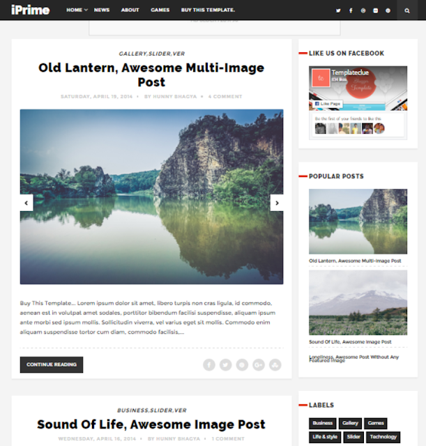 iPrime - Personal Blogger Template