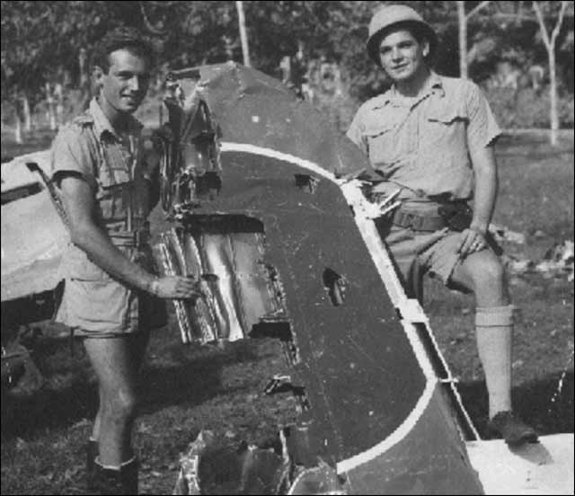 The remains of one of five of Zuikaku's D3A1s shot down over Ratmalana airfield during the raid on Colombo, Ceylon, April 5, 1942. worldwartwo.filminspector.com