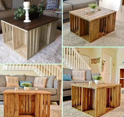 Mesa ratona hecha con cajas de madera recicladas