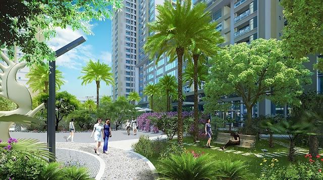 Khuôn viên xanh mát tại dự án FLC Star Tower
