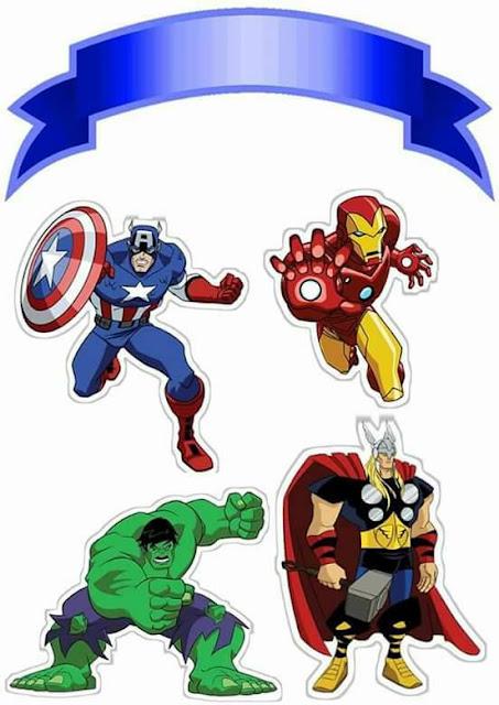 Cartoon Avengers: Free Printable Cake Toppers