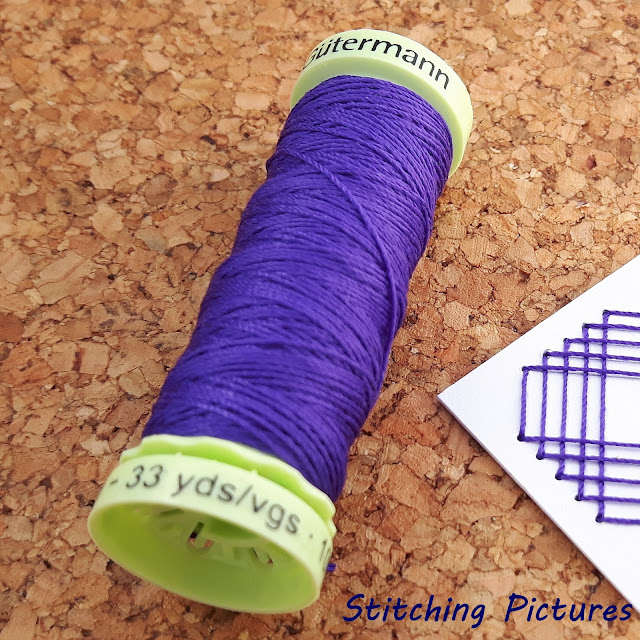 Stitching on card paper embroidery using Gutermann Top Stitch threads.
