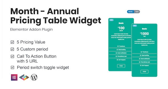 Month v1.1.0 - Annual Pricing Table Widget For Elementor