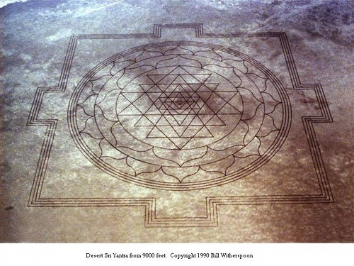 The etching of the Sri Yantra that appeared on a river bed in Oregon in August, 1990. Photo: Bill Witherspoon