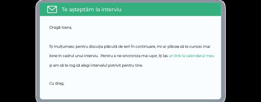 mesaj programare interviu