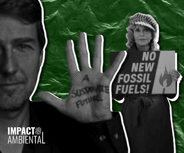 """A imagem mostra uma colagem de Edward Norton e Jane Fonda. Norton está com a mão estendida com os dizeres """"A sustainble future"""". Fonda segura um cartaz com os dizeres """"No new fossil fuels""""."""