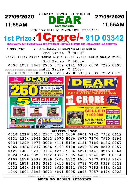Lottery Sambad Result 27.09.2020 Dear Love Morning 11:55 am