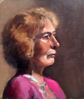 Oil painting of a middle-aged woman with short to medium length curled fair hair, wearing a pink cardigan.