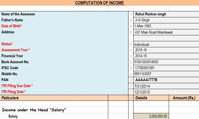Income Tax Calculator Assessment Year 2016-17 (Updated) - Income Tax Calculator