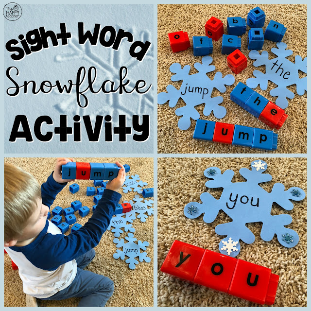 Winter Sight Word Activity using snowflake cut-outs and jumbo letter unifix cubes!