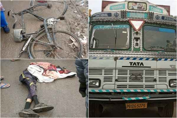 faridabad-nit-3-pulia-news-truck-accident-cycle-sawar-dead