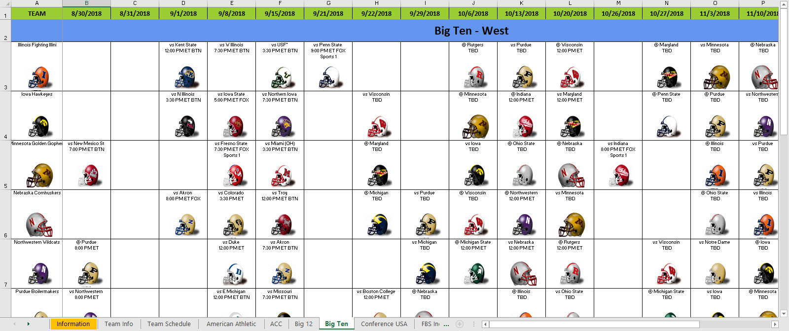excel spreadsheets help 2018 college football helmet schedule