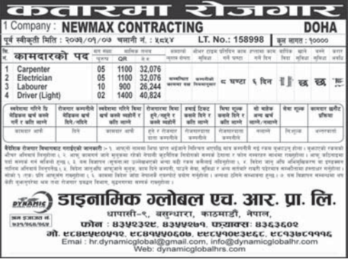 Jobs For Nepali In Qatar, Salary -Rs.40,824/