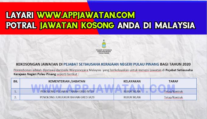 Jawatan Kosong Terkini di Pejabat Setiausaha Kerajaan Negeri Pulau Pinang.