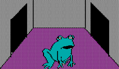 Image from the 1980 Apple II game, The Wizard and the Princess.  It shows a frog in an otherwise empty room, staring into space.
