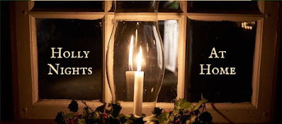 Image shows divided window panes. A lighted candle in a glass chimney is in the center with greenery at its base. Text reads Holly Nights at Home.