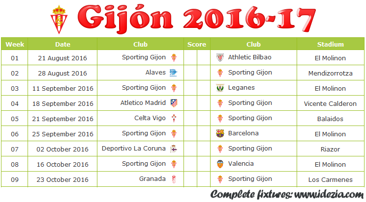 Download Jadwal Sporting de Gijón 2016-2017 File JPG - Download Kalender Lengkap Pertandingan Sporting de Gijón 2016-2017 File JPG - Download Sporting de Gijón Schedule Full Fixture File JPG - Schedule with Score Coloumn