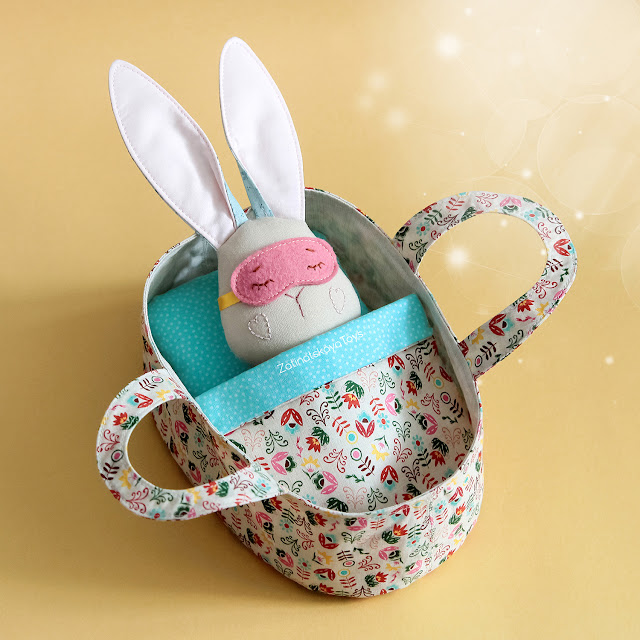bunny toy in sleeping basket DIY gifts for baby