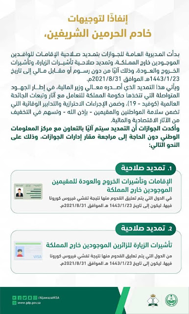 Extension of Iqamas, Re-Entry and Visit Visas of Suspended countries Expats outside the Kingdom - Saudi-Expatriates.com
