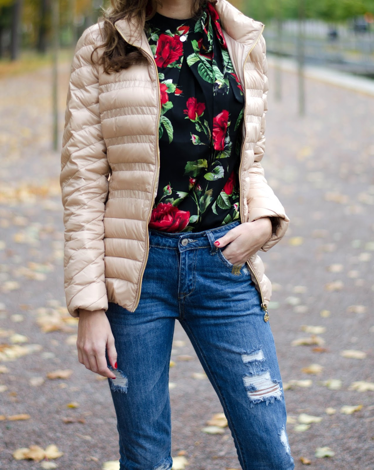 floral print blouse beige puffy jacket outfit