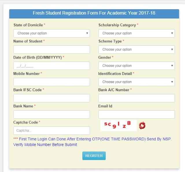 NSP(NATIONAL SCHOLARSHIP PORTAL REGISTRATION FORM AND LOGIN