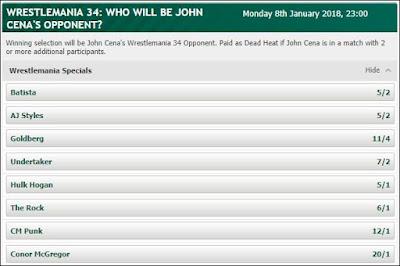 John Cena's WrestleMania 34 Opponent Betting Odds